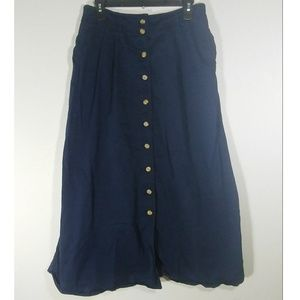 👉Vintage Button Front Maxi Skirt Navy Size 12